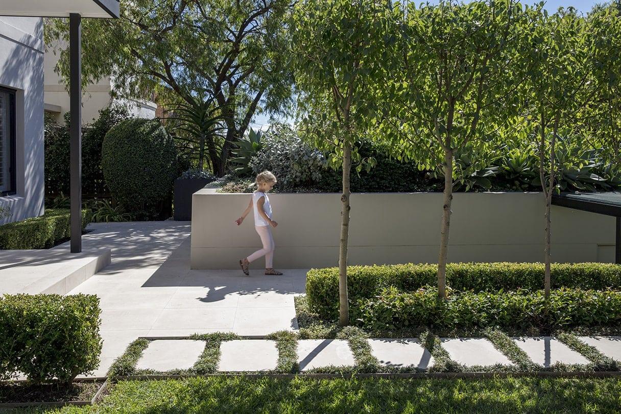 garden paving grey paved steps in grass backyard