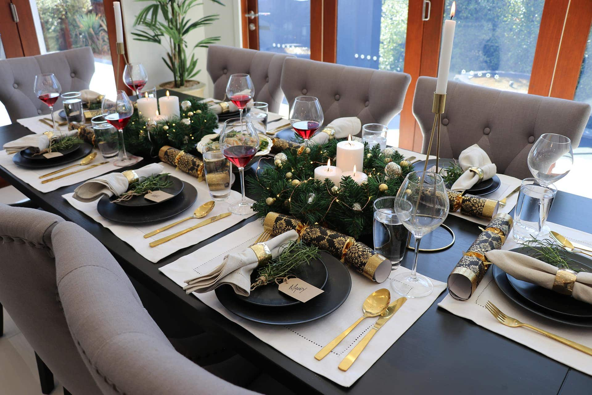 gold and black christmas table styling ideas on a budget from metricon