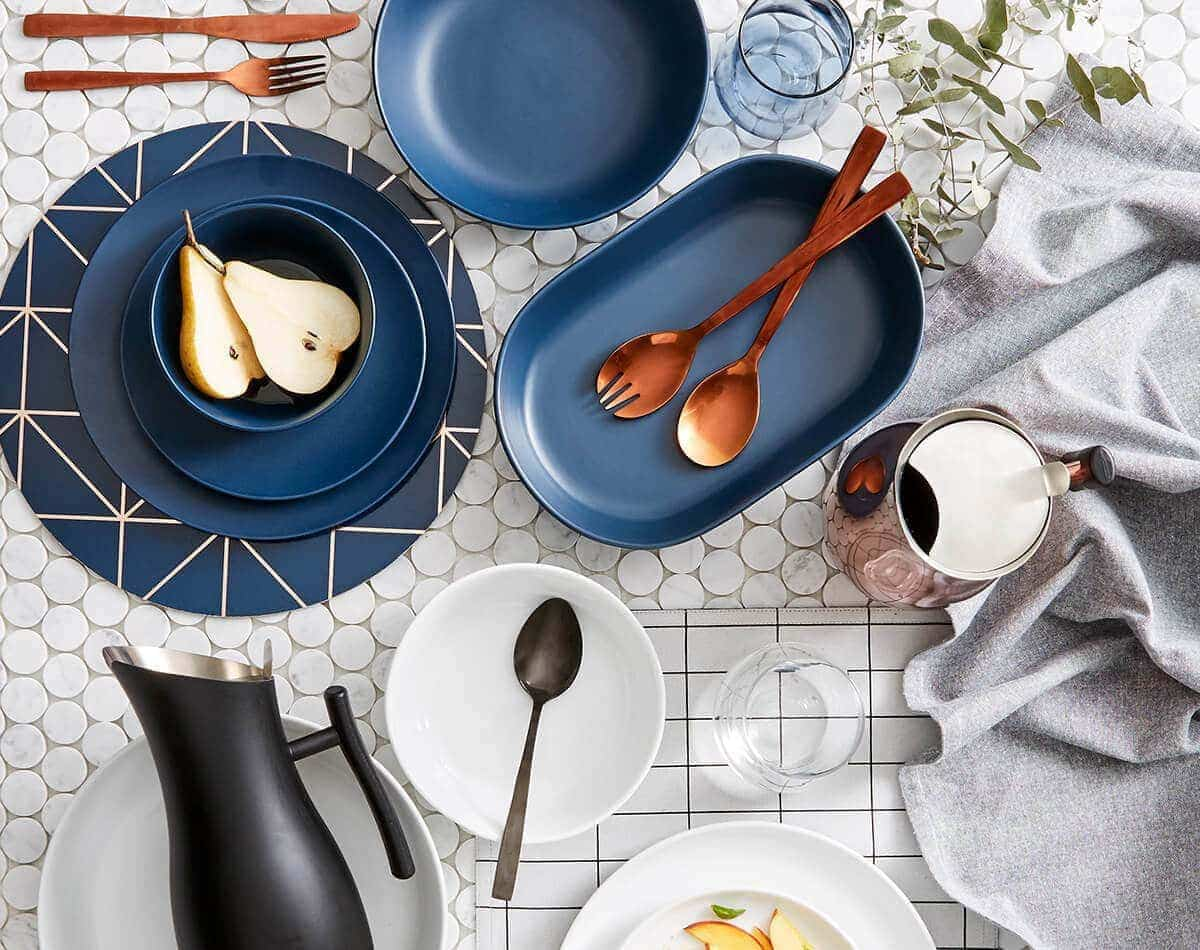 kmart copper cutlery navy and copper interior design ideas