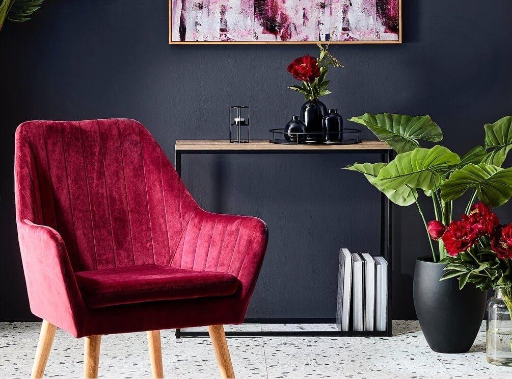 kmart maroon velvet armchair