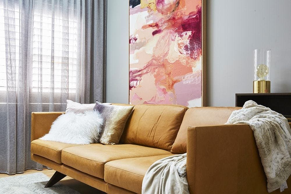 the block 2017 jason and sarah's media room tan leather sofa