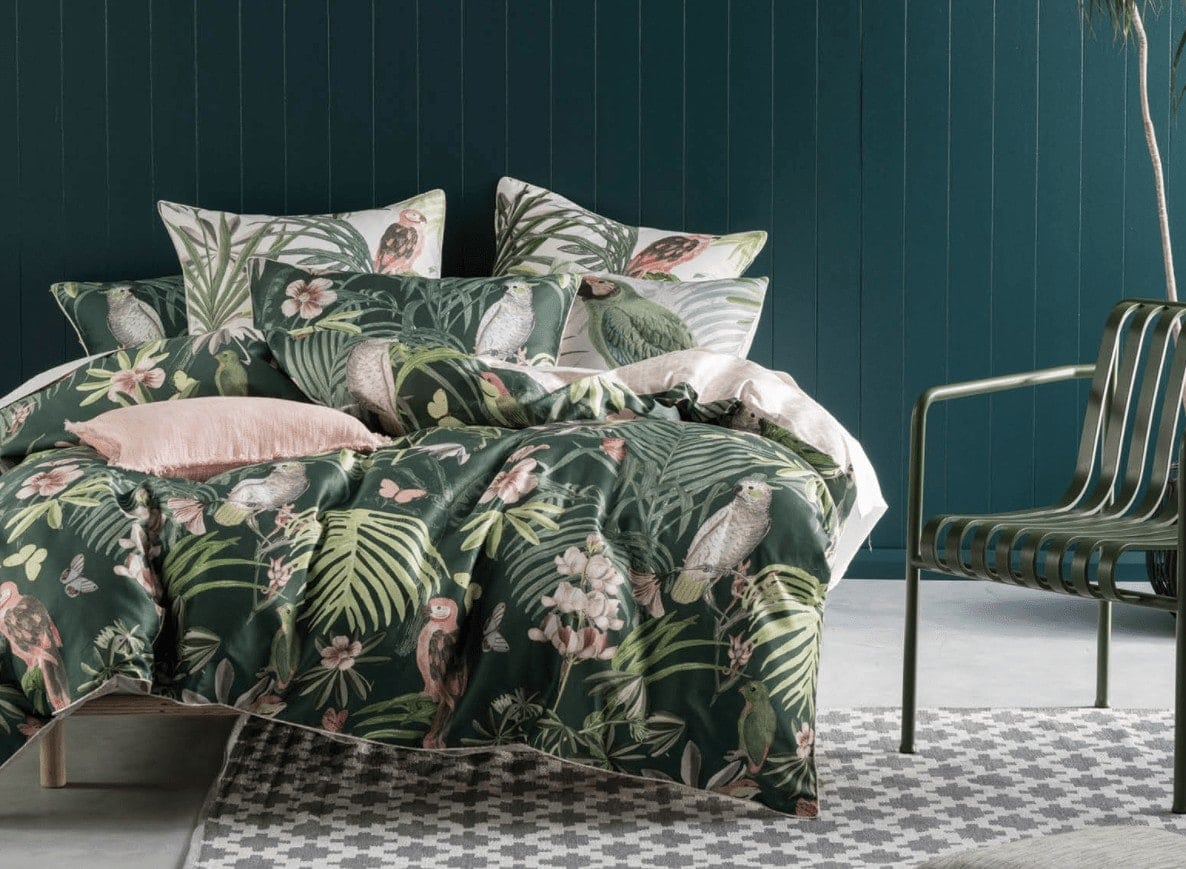 Rosabelle quilt cover set in pink and green from Linen House
