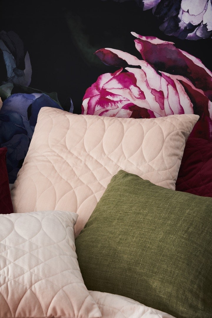 adairs pink and green cushions and bedding
