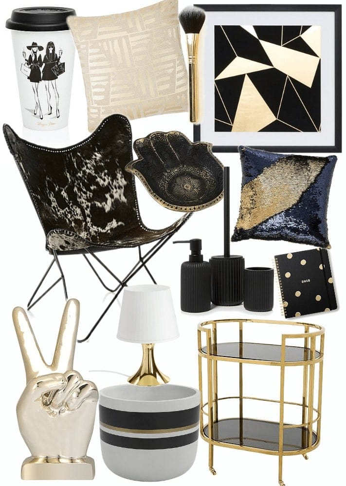 black and gold homewares mood board on tlc interiors