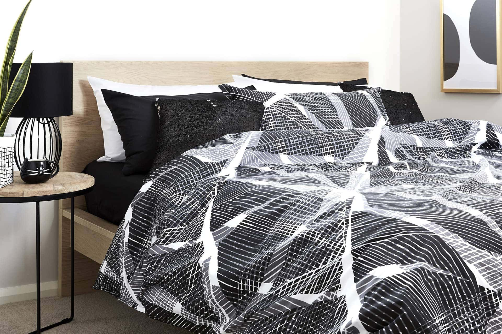 black and white patten bedding set from lorraine lea in monchomatic bedroom