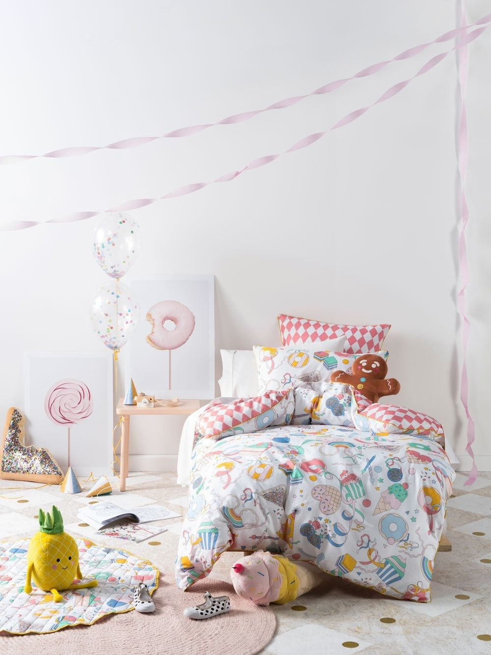 donuts and ice cream bedding set for kids room from linen house