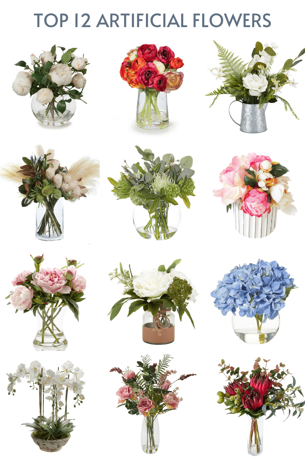 fake flowers in vases and glass pots australian suppliers