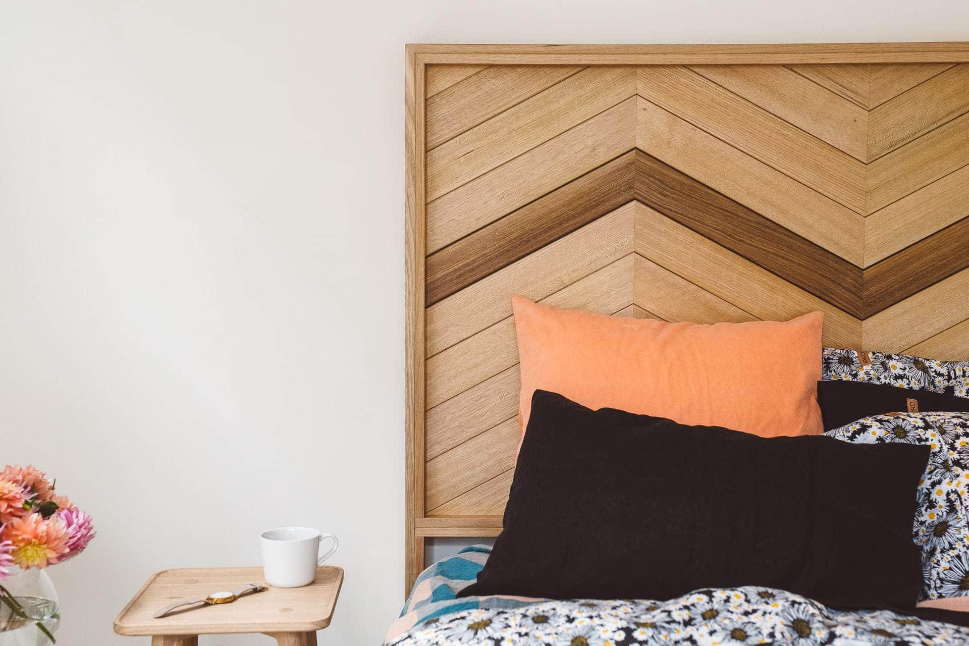 herringbone blonde timber headboard by leyer
