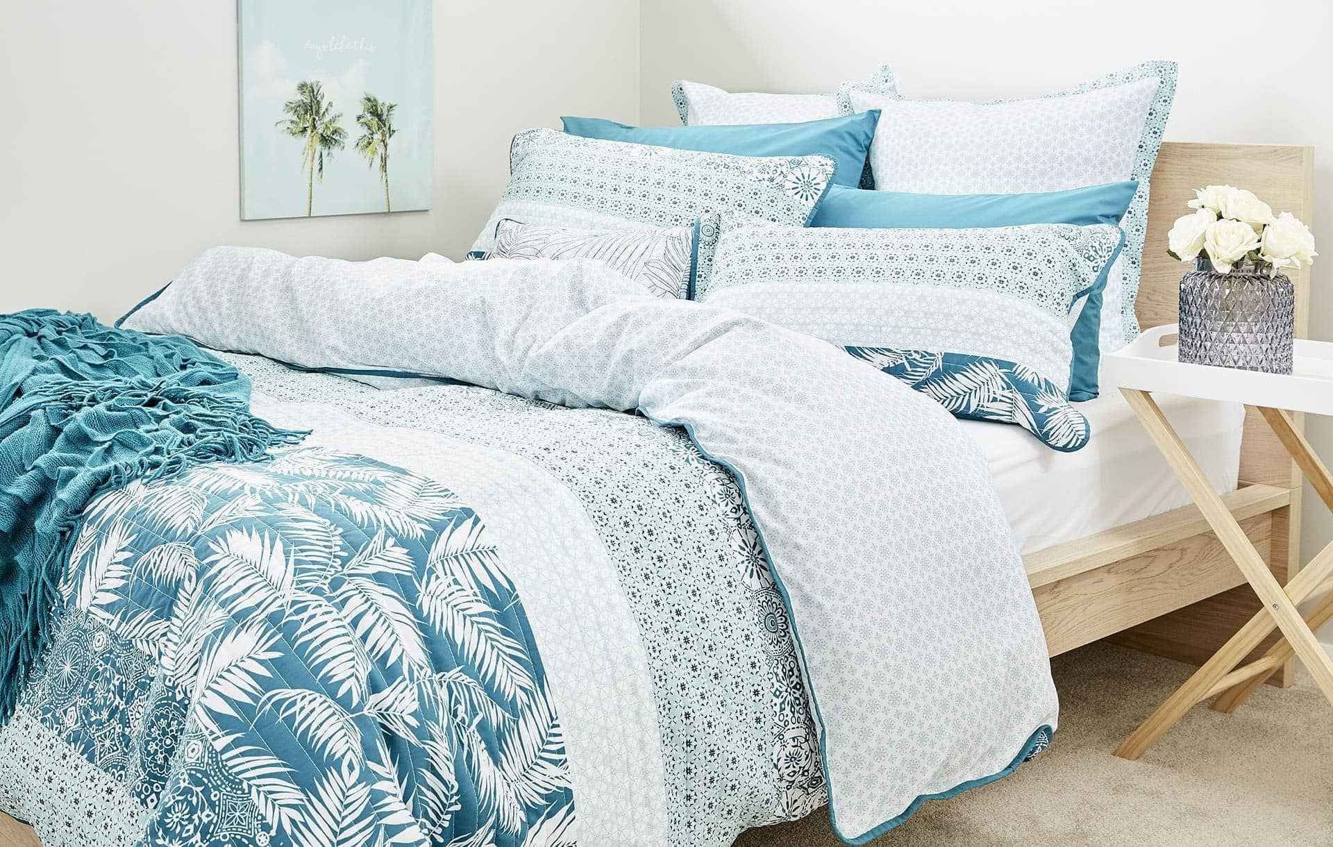 how to mix pattern at home lorraine lea tropical bedding with palm leaf pattern