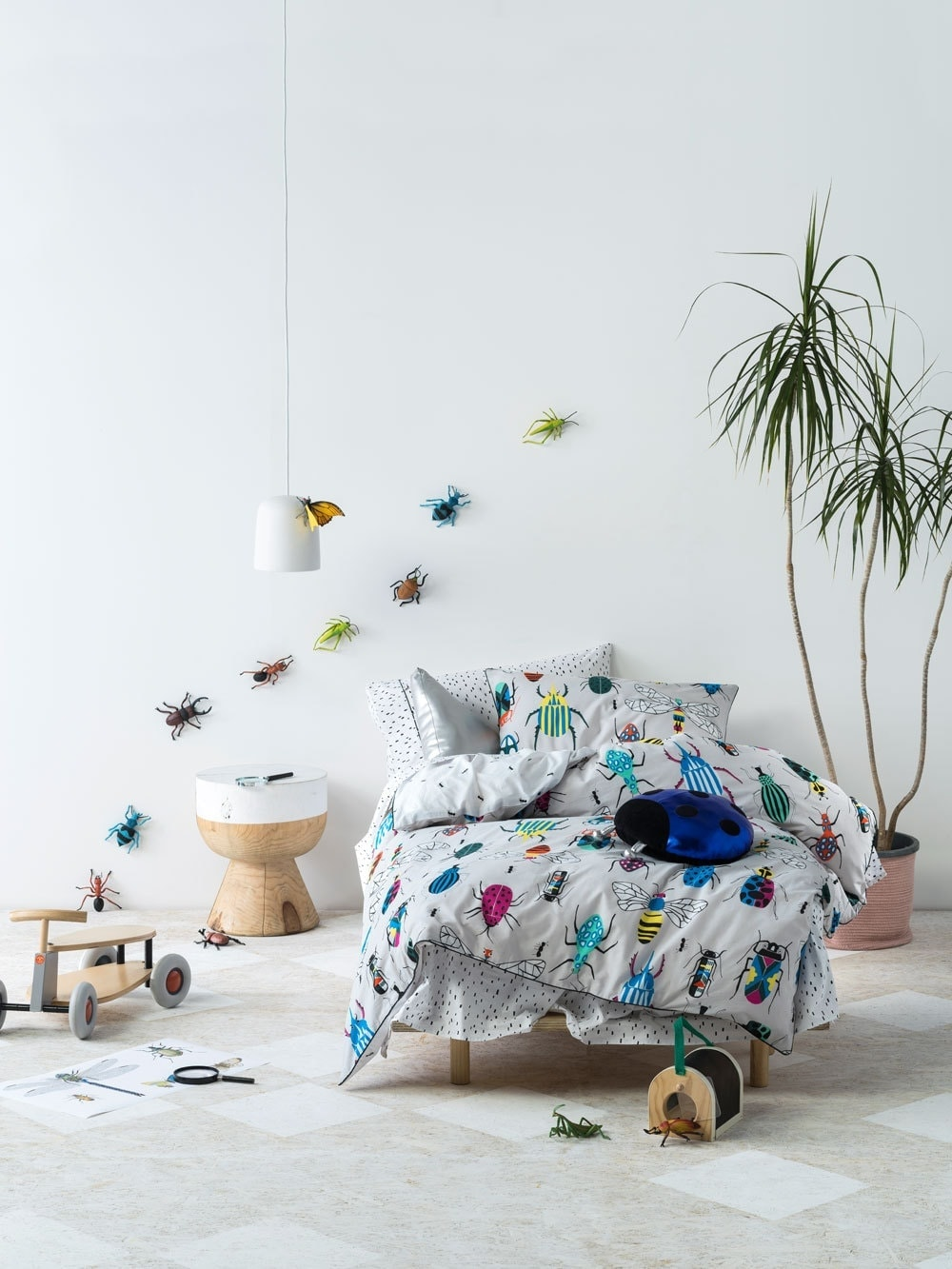 kids insect bedding set in white bedroom from linen house