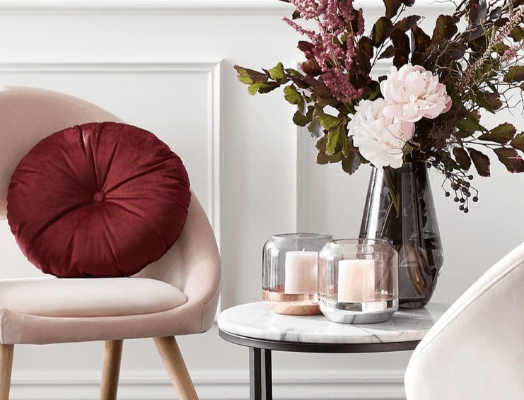 kmart homewares 2018 pink velvet chair with maroon cushion