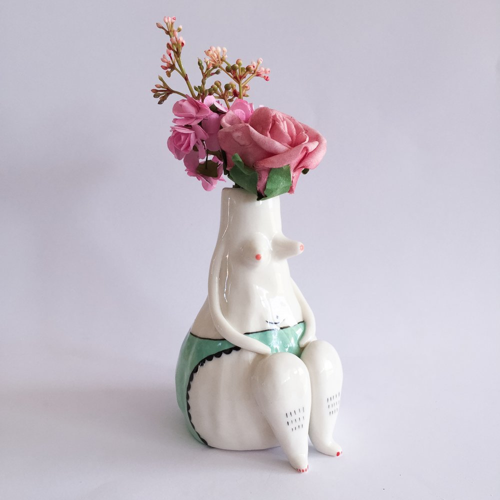 laurie melia ceramics lady vase