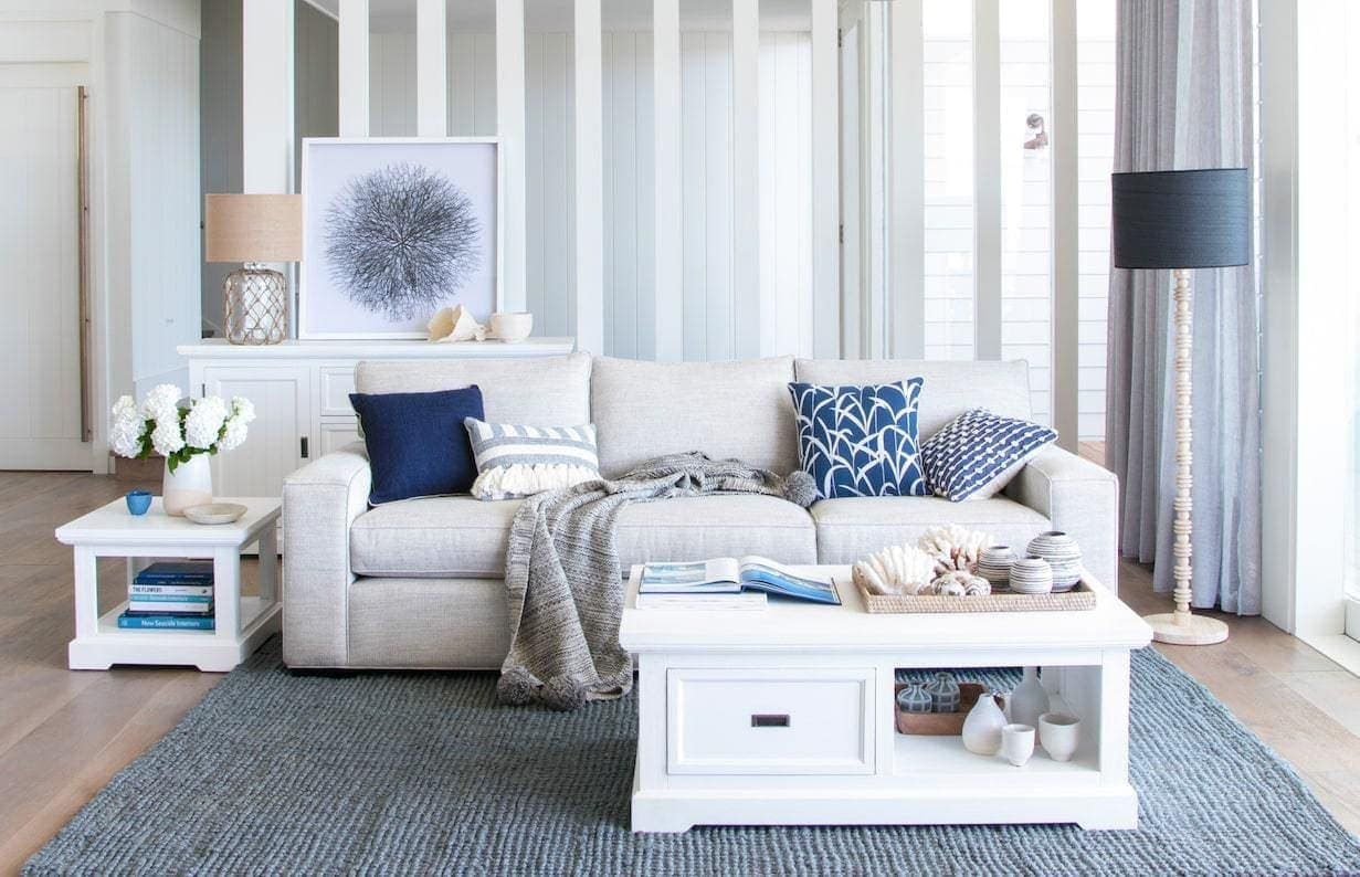 oz design hamptons living room with blue and white colours