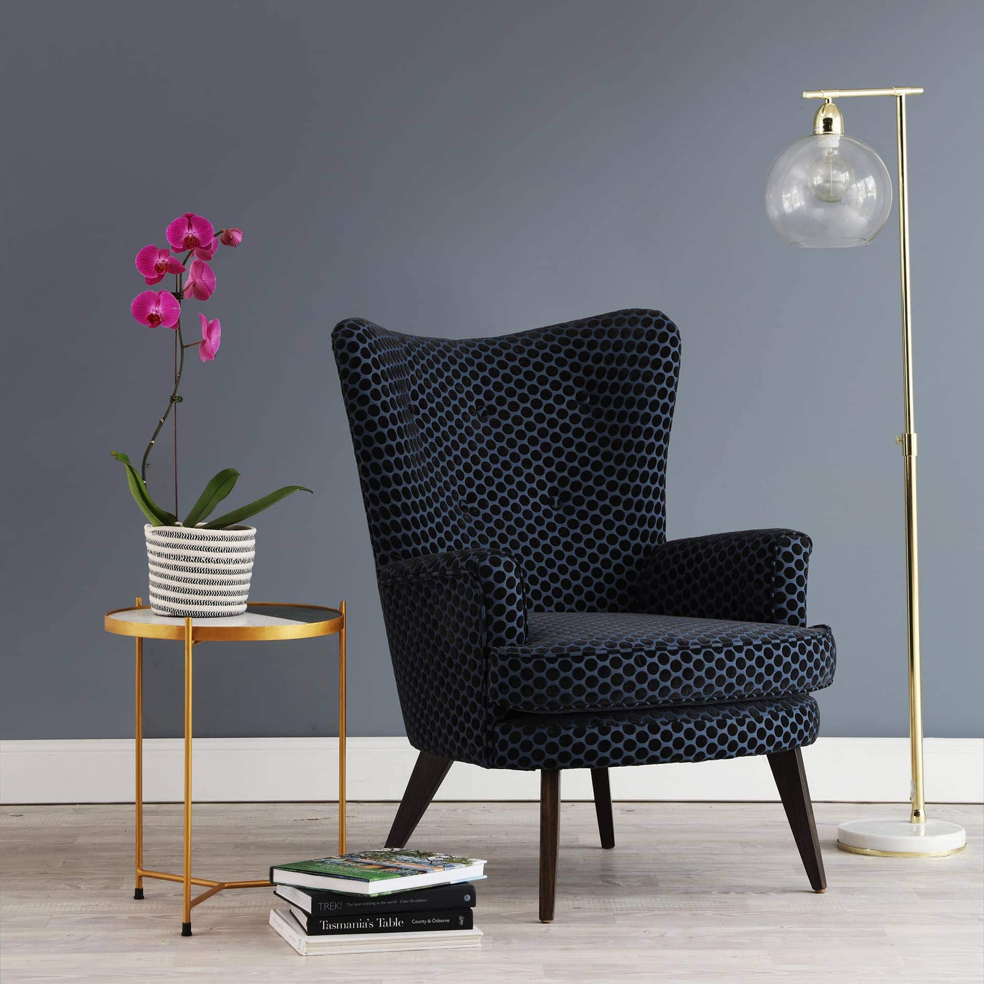 oz design polly armchair in black and gold homewares