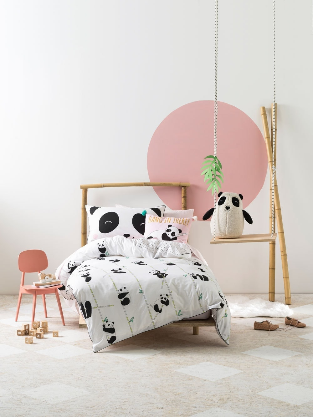 panda bear kids bedding from linen house in pink and white girls room