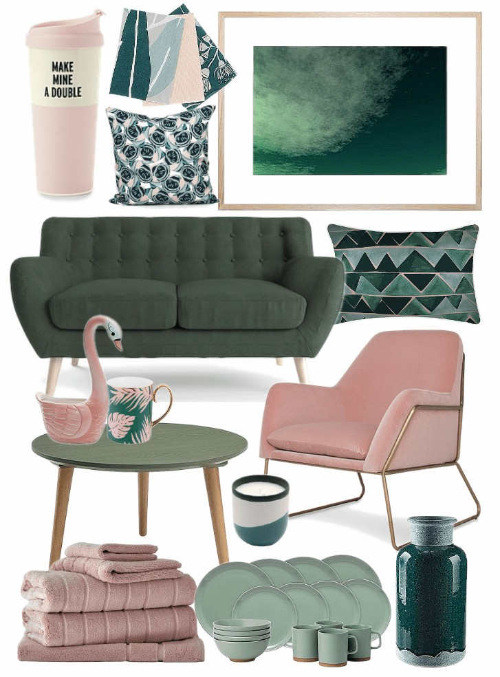 pink and green decorating ideas mood board on tlc interiors