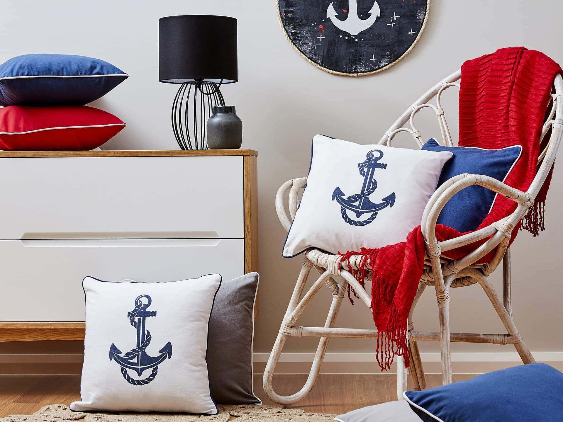 red white and blue nautical interior design ideas lorraine lea anchor cushion covers