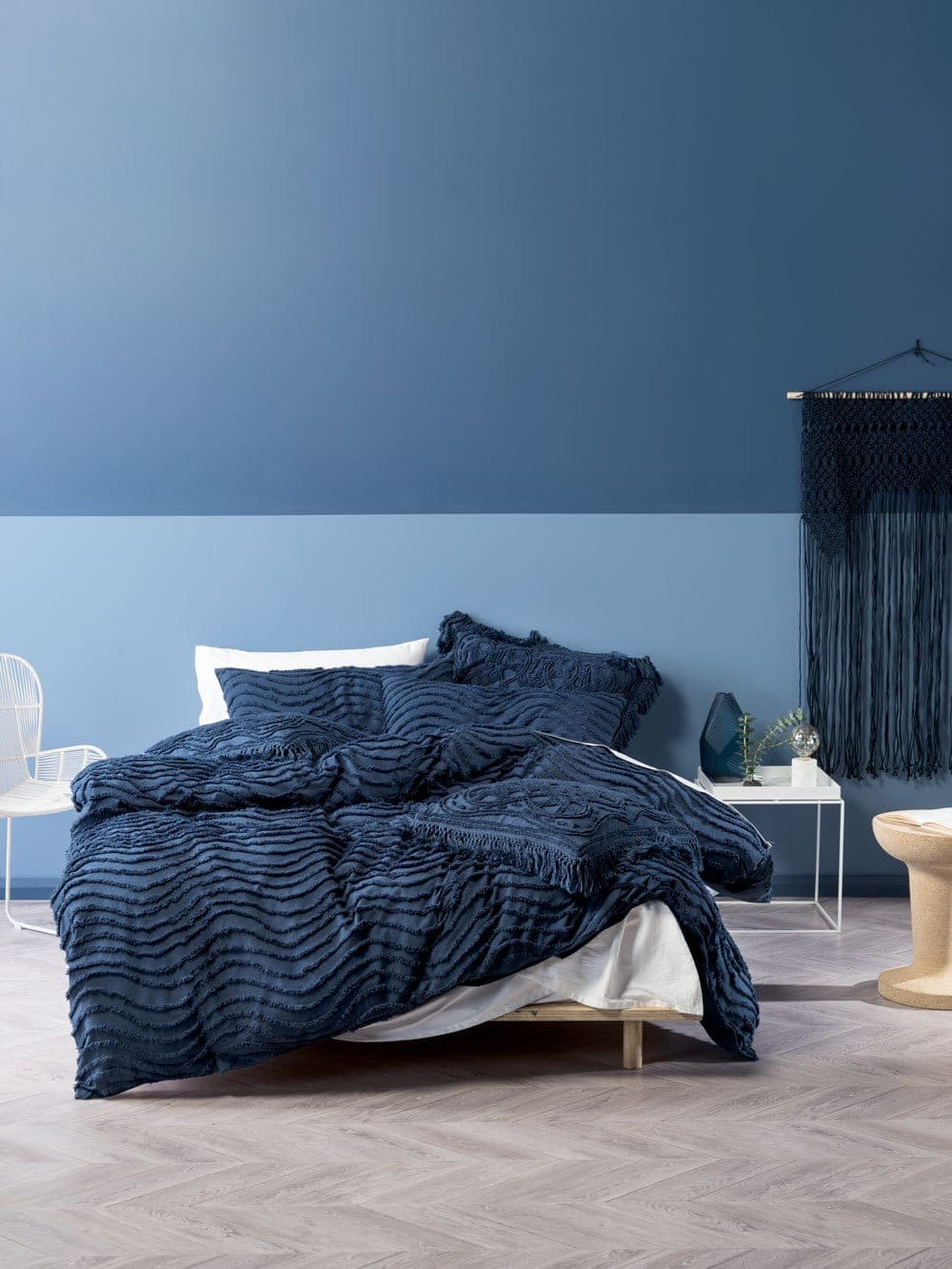 sky blue bedroom with bavy blue bedding from linen house calming bedroom colours