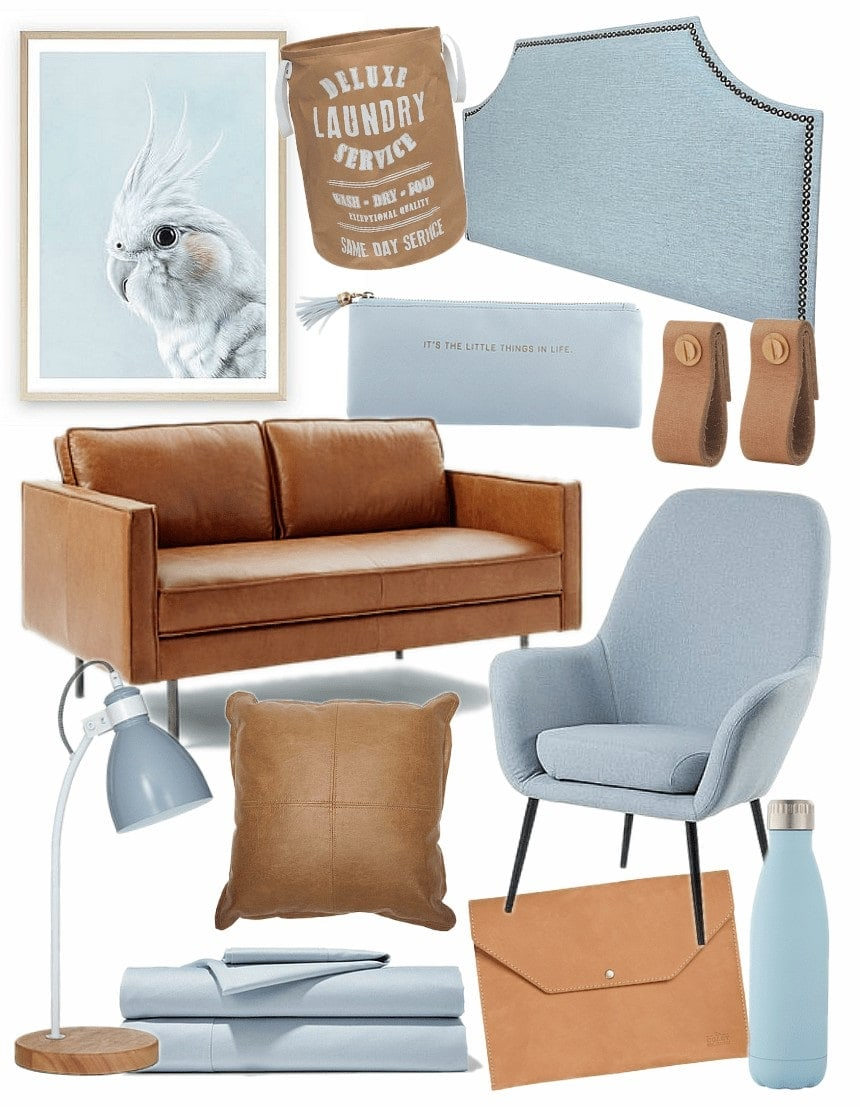 tan and baby blue homewares mood board on tlc interiors blog