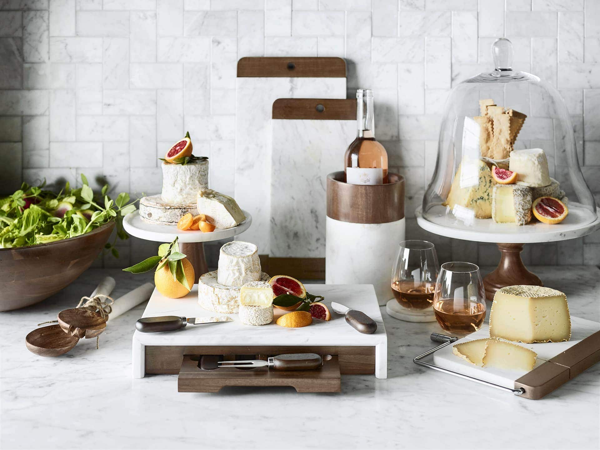 william sonoma marble kitchenware with cheeses