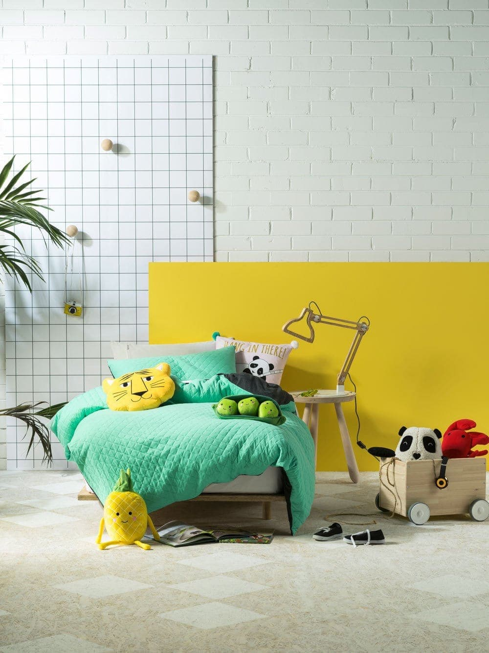 yellow and mint kids bedroom colour ideas from linen house