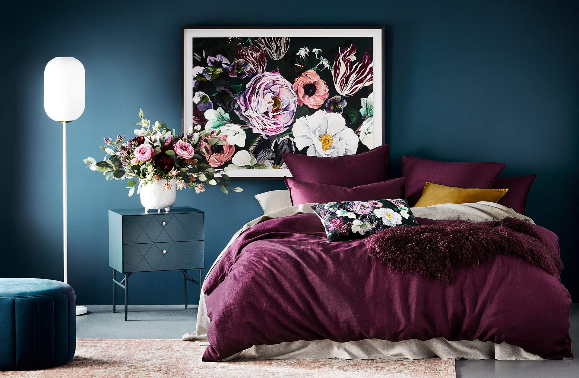 adairs purple bedspread in dark teal bedroom romance interior design trend