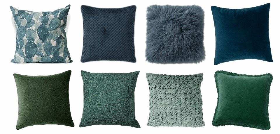 blue and green coloured cushions for autumn winter