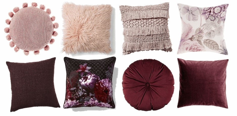 blush and burgundy coloured cushions for autumn winter