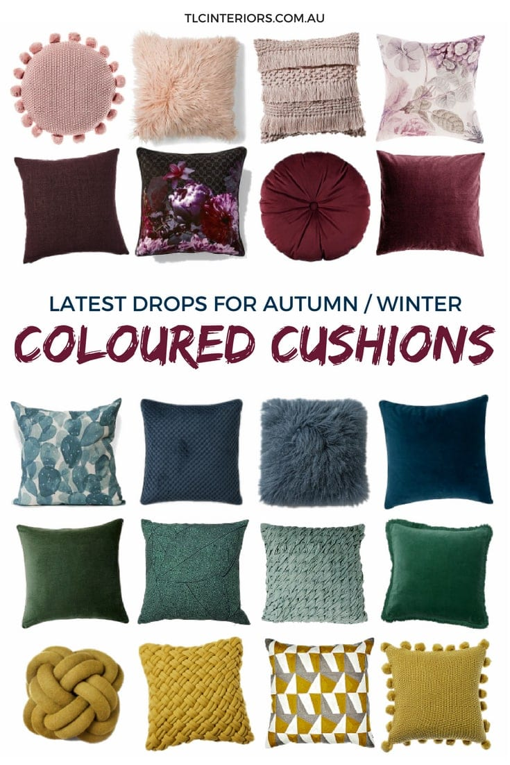 coloured cushions mood board for autumn winter