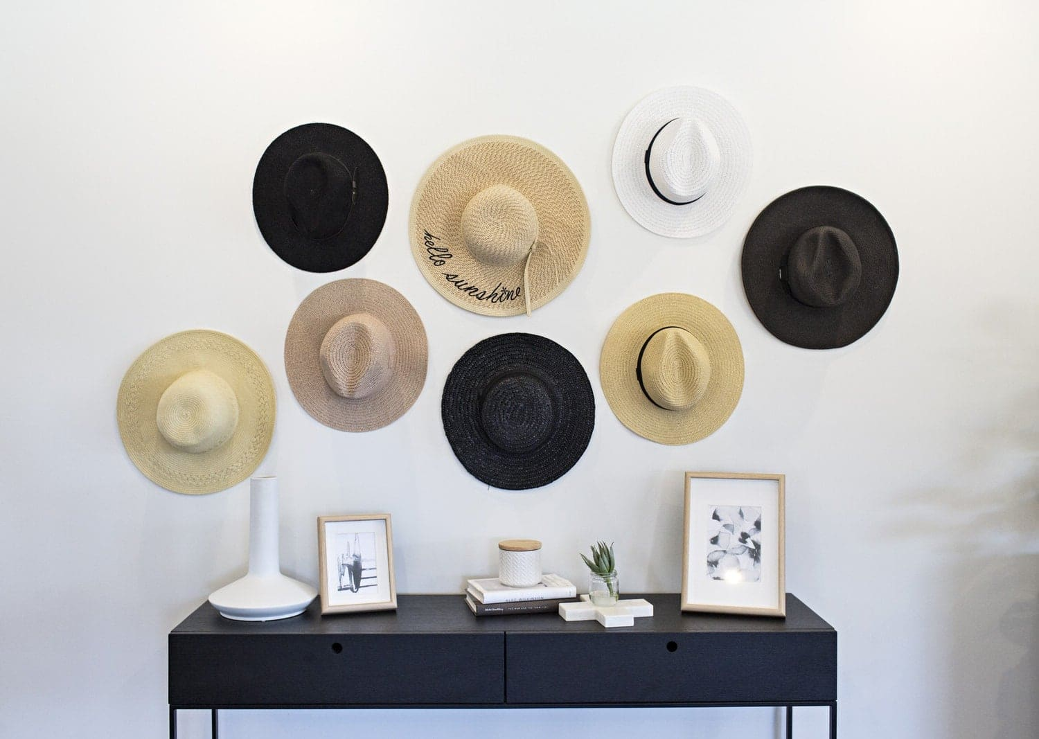 diy hat wall with round brim hats on wall