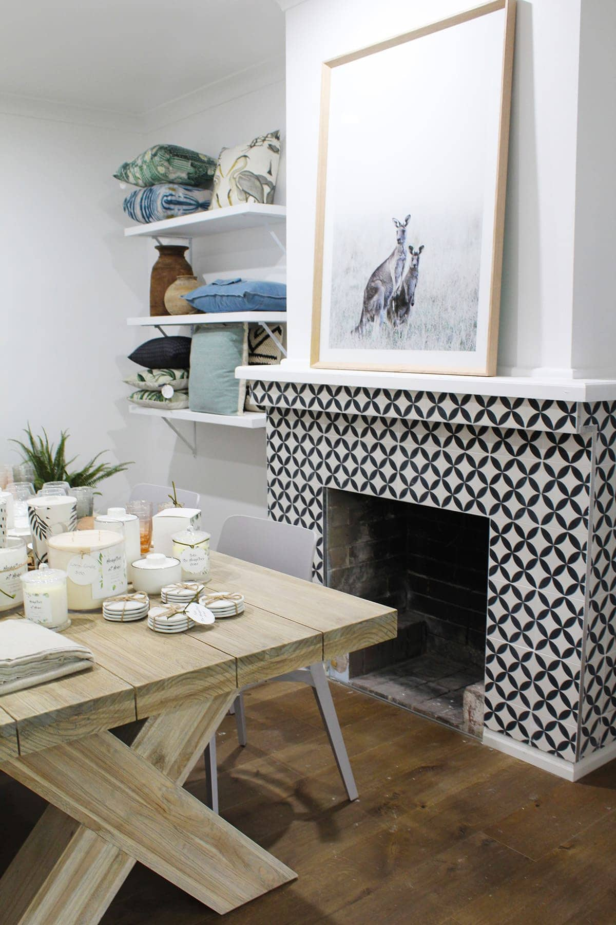 hamptons store hamptons at home black and white tile fireplace