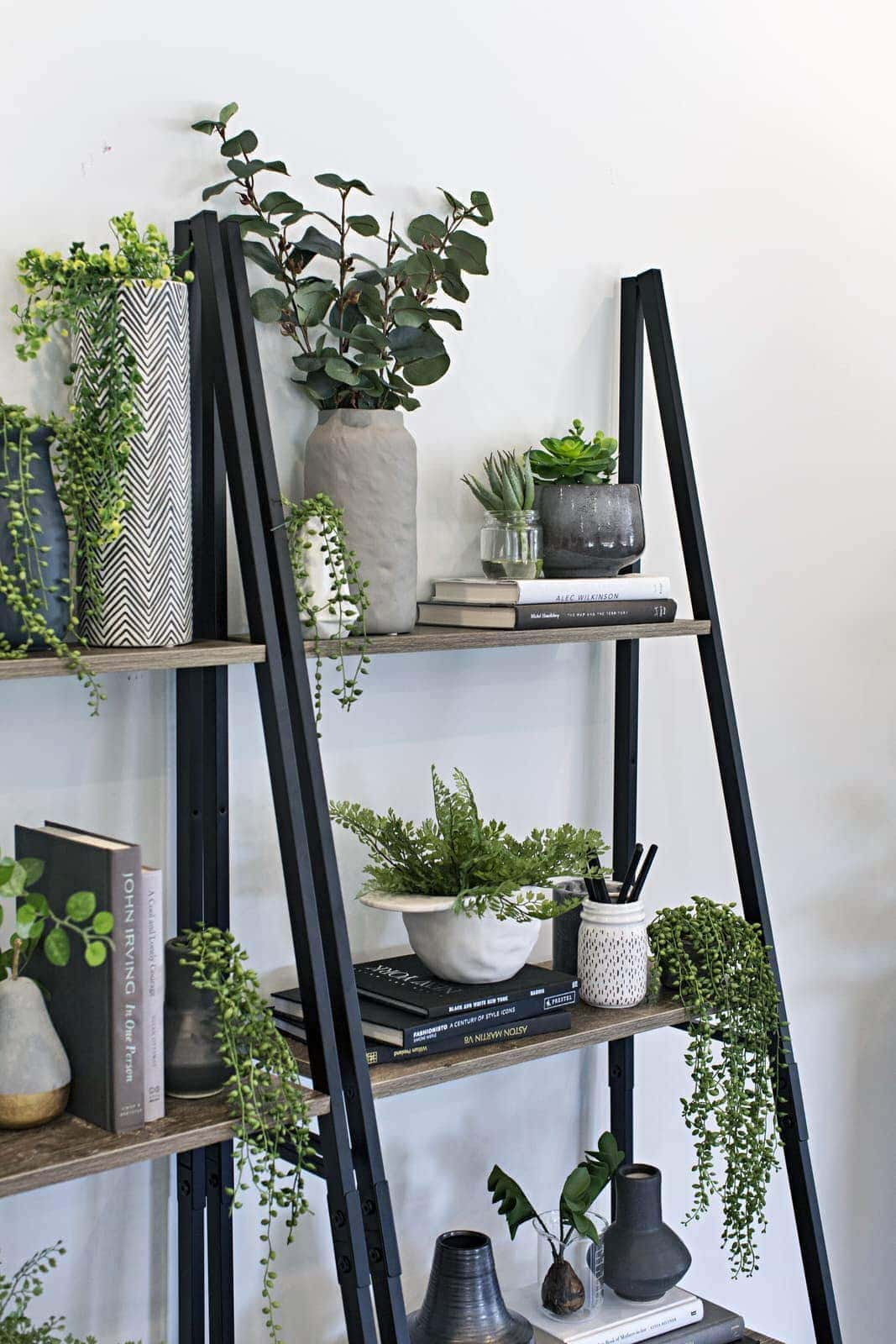indoor vertical garden using fake plants on kmart industrial ladder shelf