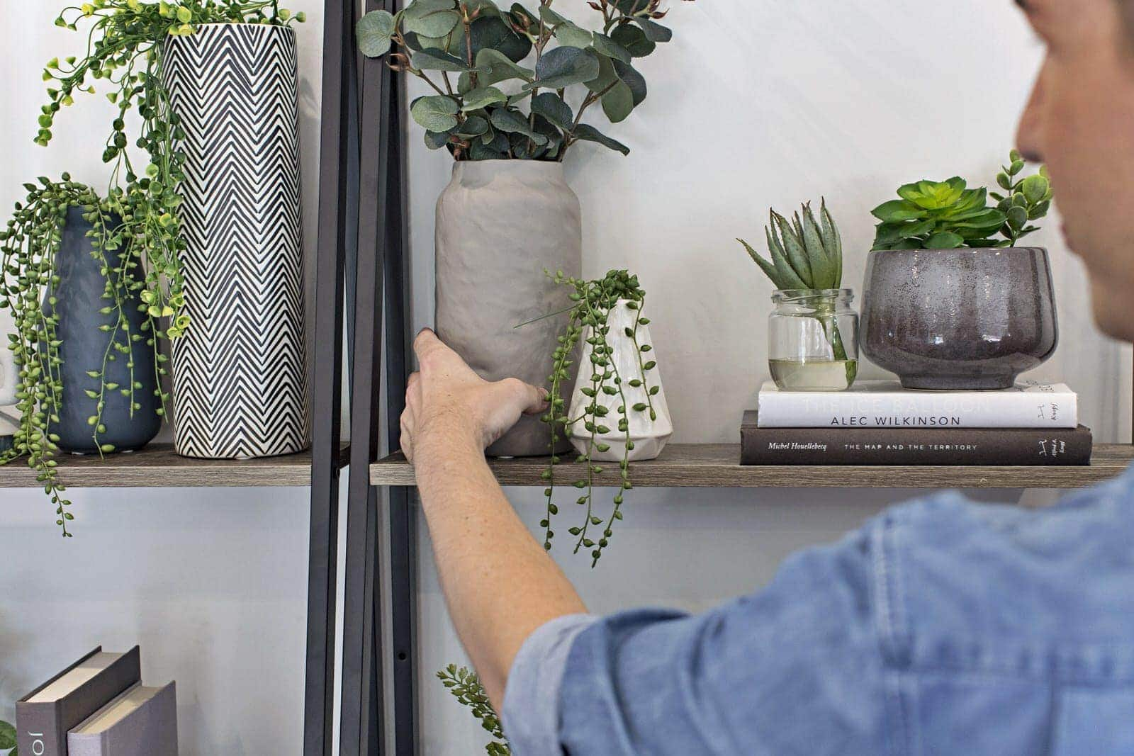 kmart industrial ladder shelf used as an indoor vertical garden