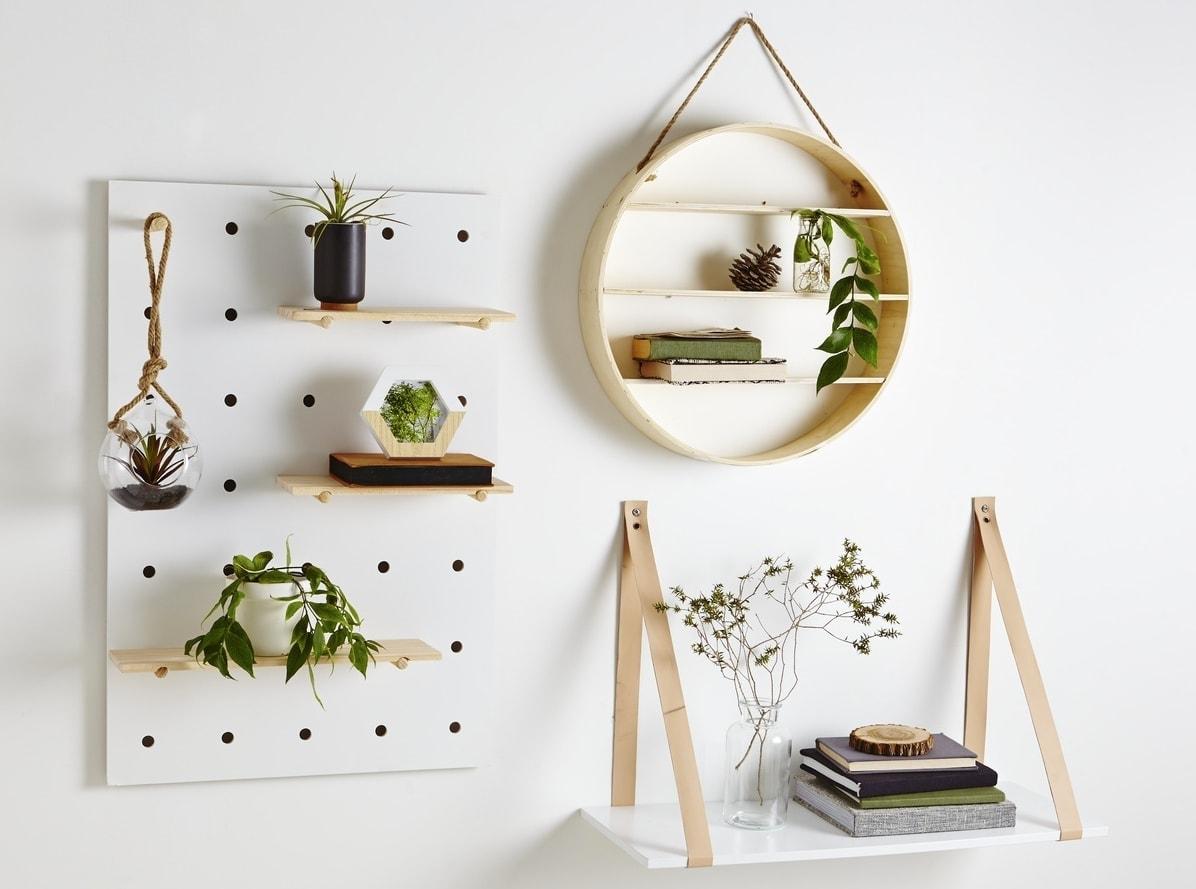 kmart peg board round shelf and leather strap shelf