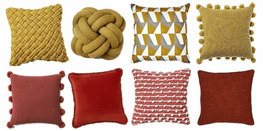 mustard and terracotta coloured cushions for autumn winter