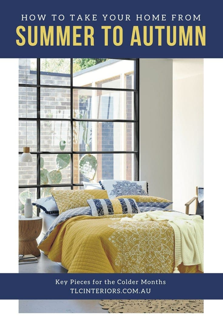 navy and mustard bedding from lorraine lea decorating from summer to autumn