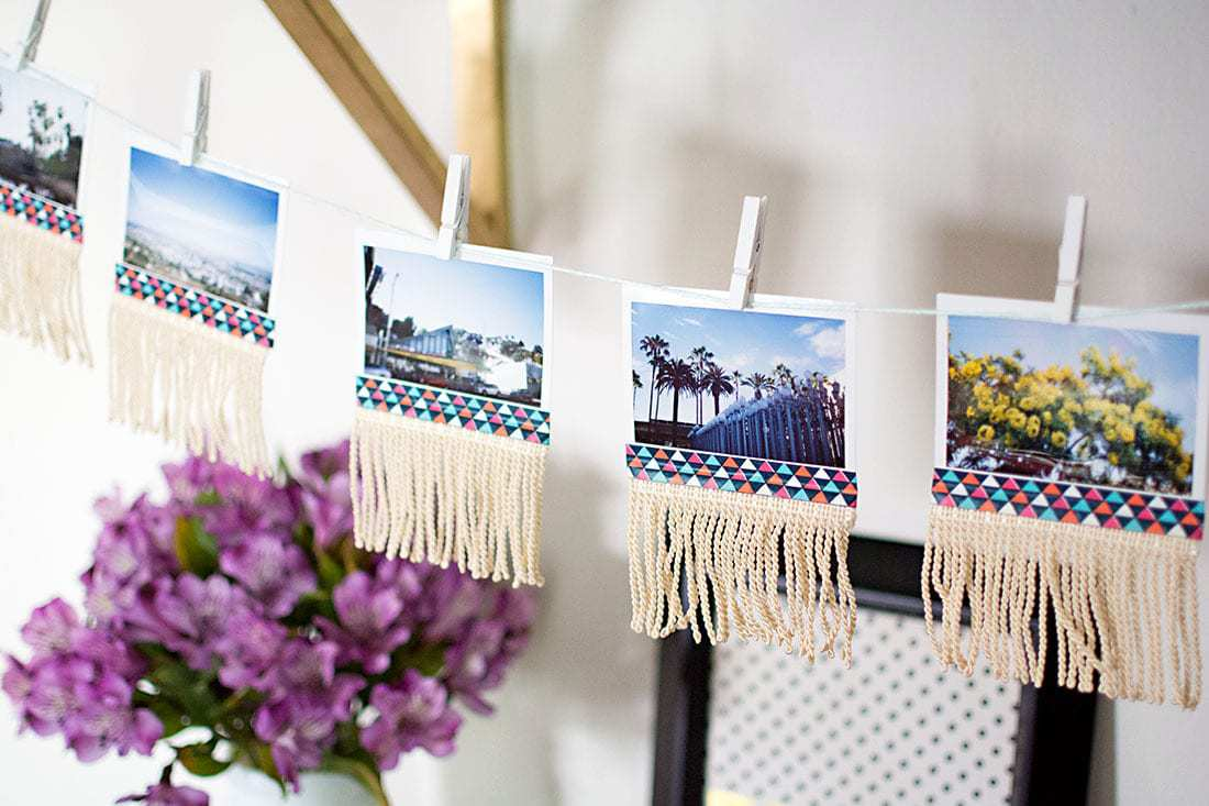photo garland with polaroid photos on string