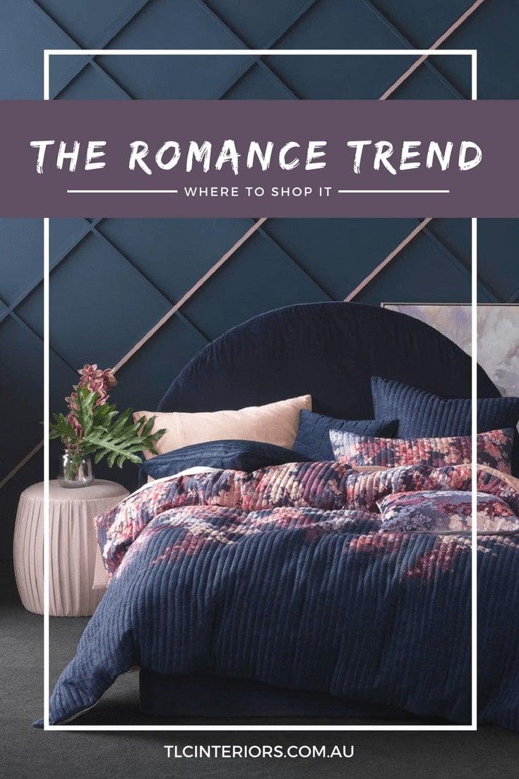 romance interior design trend dark floral bedding from linen house