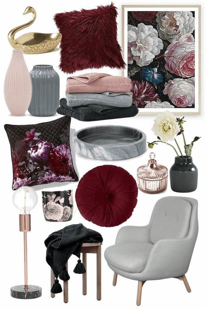 romance interior design trend mood board