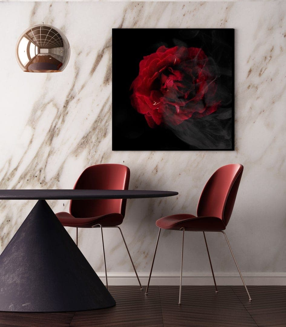 wall studio red rose artwork in dining room