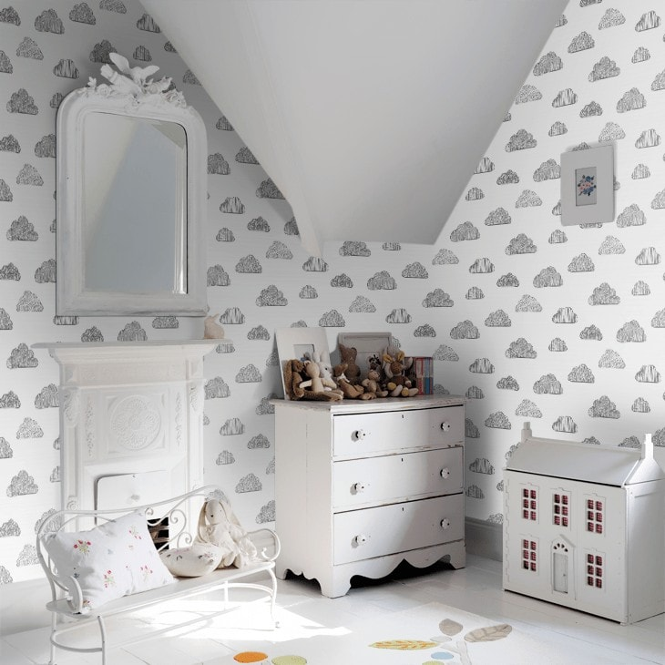 claudia black and white cloud wallpaper from wallpaper direct for kids room