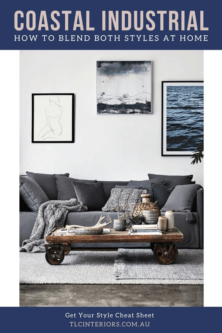 coastal industrial living room with grey slip cover sofa and industrial coffee table