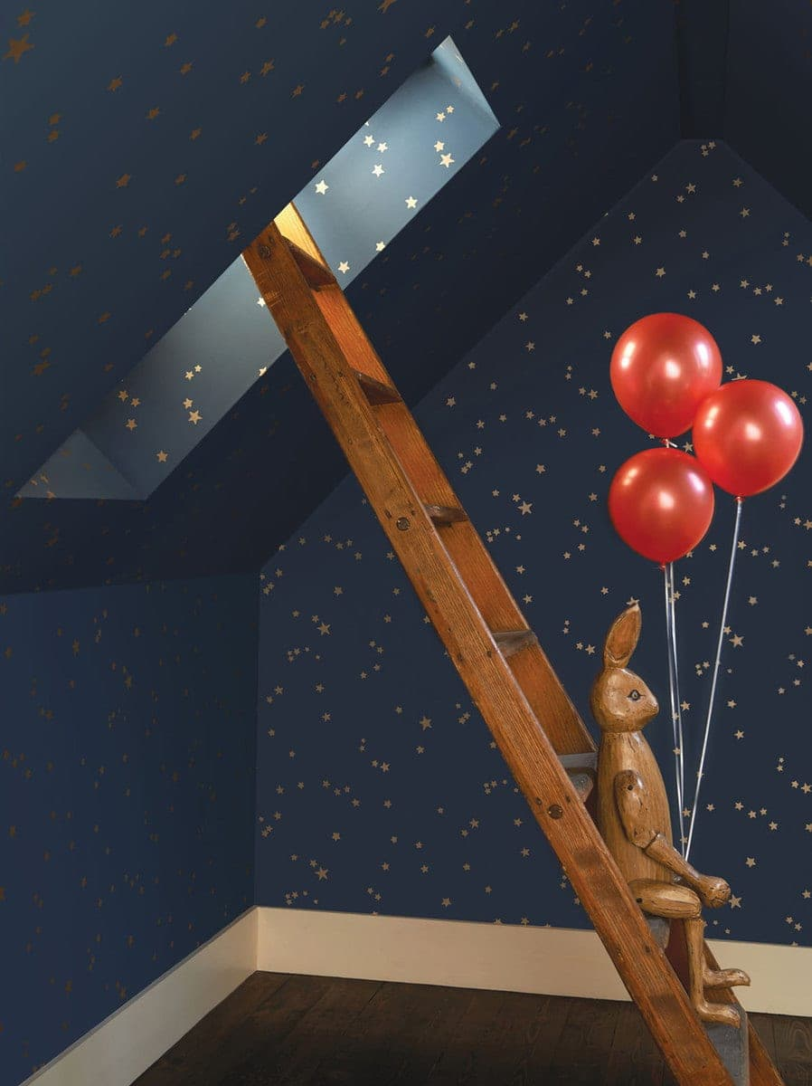cole and sons dark blue gold stars wallpaper for kids room