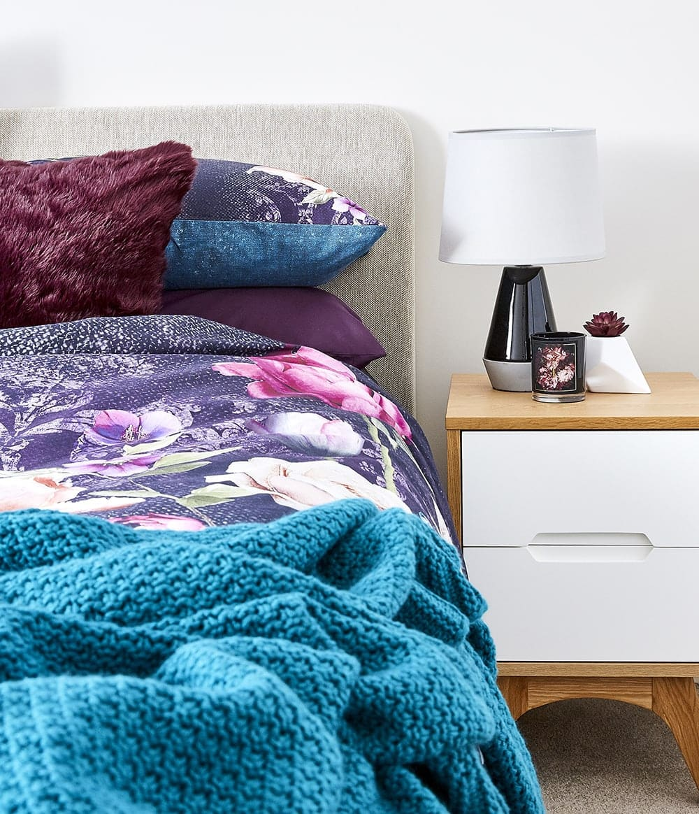 colour trends for autumn dark floral bedspread from lorraine lea