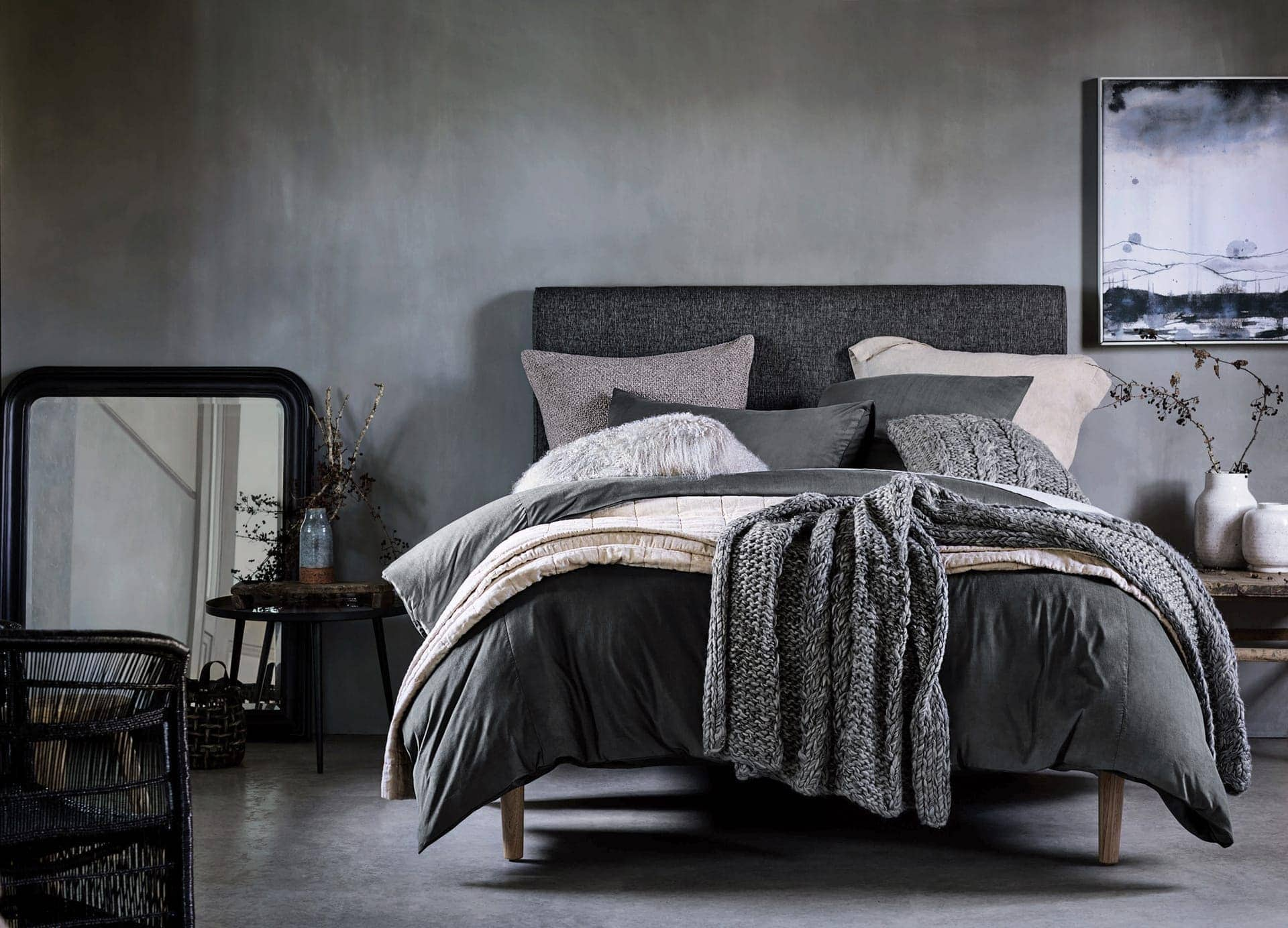 dark and mood bedroom ideas from sheridan with grey satin wall paint