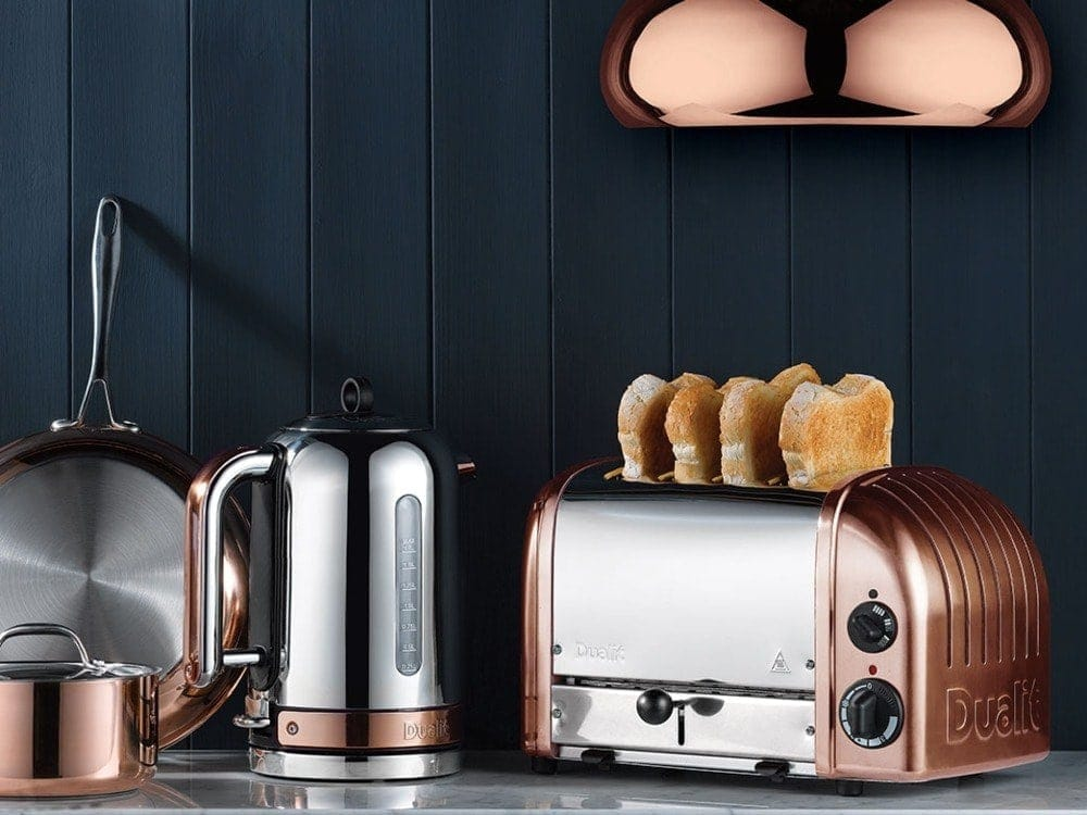 dualit copper kettle and toaster range on tlc interiors