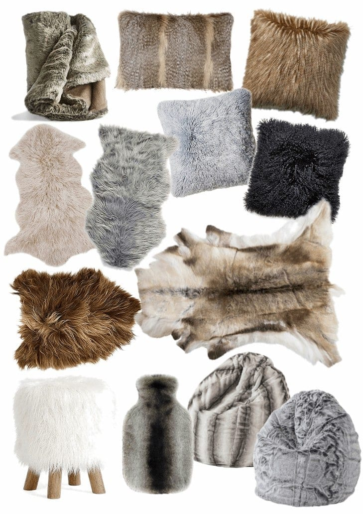 faux fur throws cushions and rugs mood board