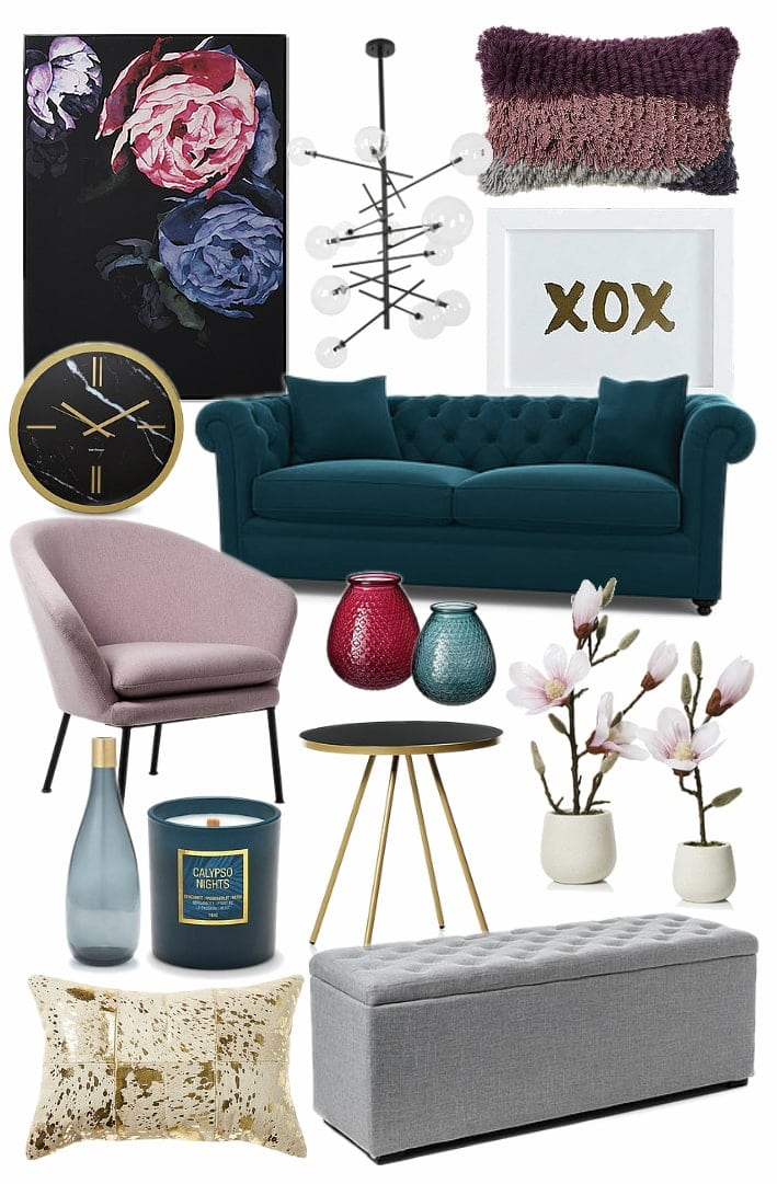 feminine luxe interior design mood board on tlc interiors
