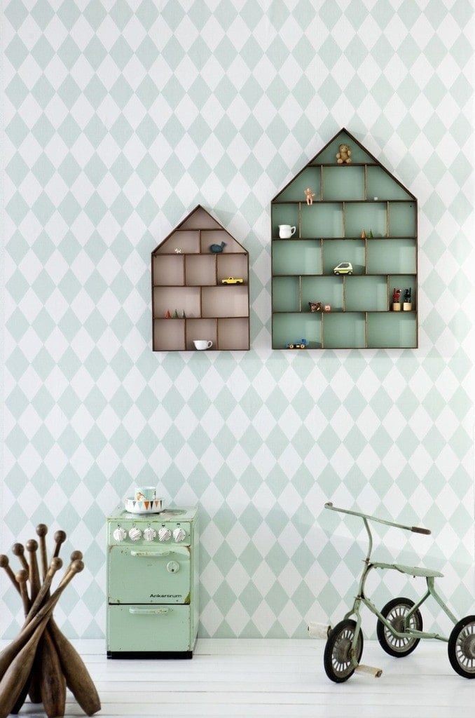 ferm living mint green diamond wallpaper ideas for kids rooms