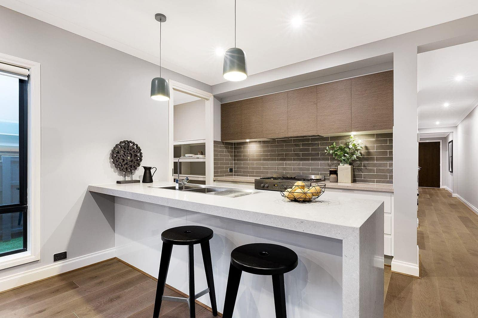 grey and white kitchen ideas by metricon grange 25 display home